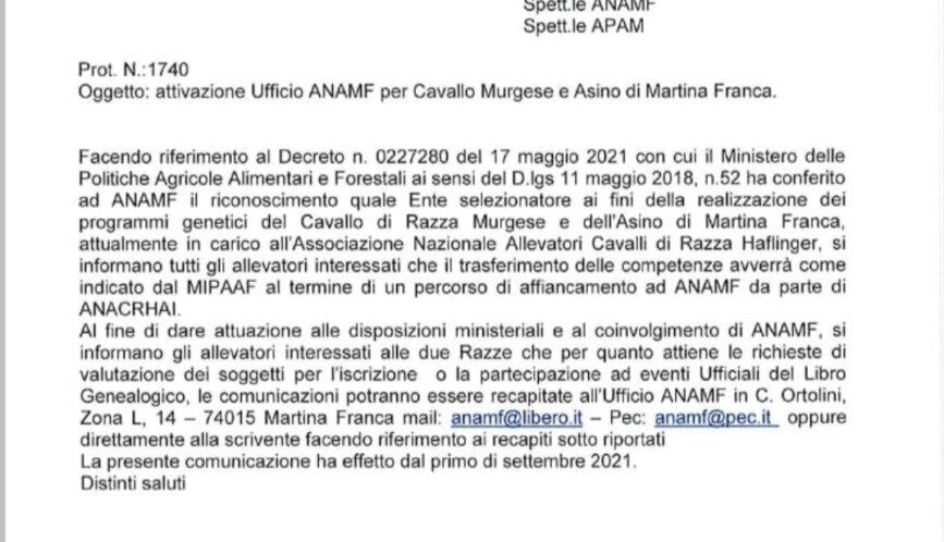 01.09.2021 ATTIVAZIONE UFFICIO ANAMF PER CAVALLO MURGESE E ASINO DI MARTINA FRANCA